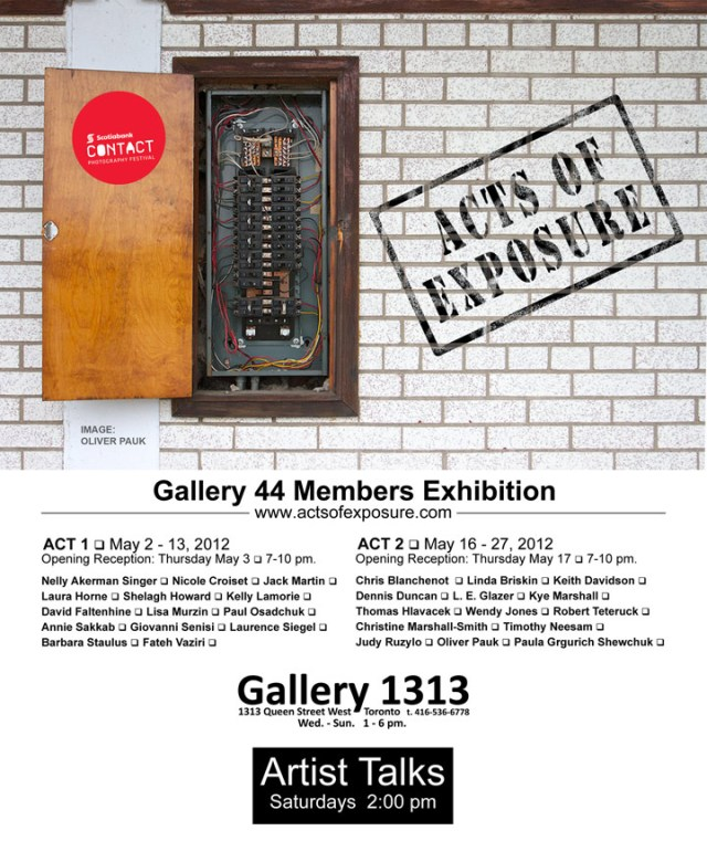Act II of Acts of Exposure, the Gallery 44 Members Show in Scotiabank Contact Photography Festival starts on May 16